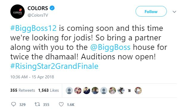 Colors Tweet Bigg Boss Season 12